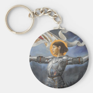 Joan of Arc with banner Basic Round Button Key Ring