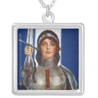 Joan of Arc World War I Buy War Saving Stamps Square Pendant Necklace