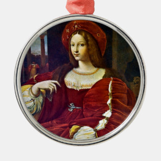 Joanna of Aragon by Raphael Silver-Colored Round Decoration