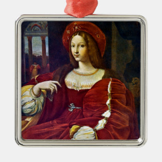 Joanna of Aragon by Raphael Silver-Colored Square Decoration