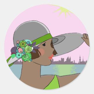 Joanne - Art Deco Portrait in Green & Mauve Round Sticker