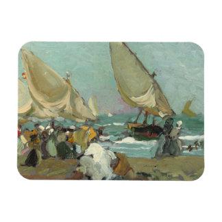 Joaquin Sorolla - Boats on the beach of Valencia Magnet