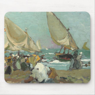 Joaquin Sorolla - Boats on the beach of Valencia Mouse Pad