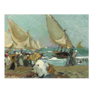 Joaquin Sorolla - Boats on the beach of Valencia Postcard