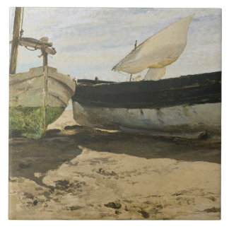 Joaquin Sorolla - Fishing boats on the beach Ceramic Tile
