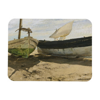 Joaquin Sorolla - Fishing boats on the beach Magnet