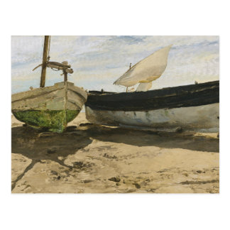 Joaquin Sorolla - Fishing boats on the beach Postcard
