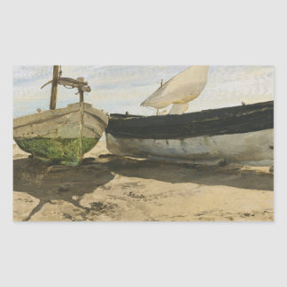 Joaquin Sorolla - Fishing boats on the beach Rectangular Sticker
