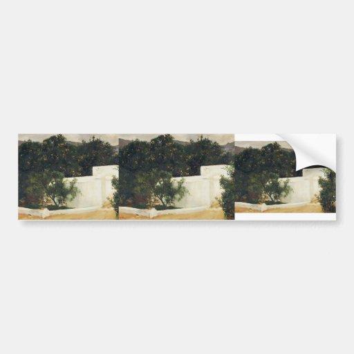 Joaquín Sorolla- Orange trees on road to Seville Bumper Sticker