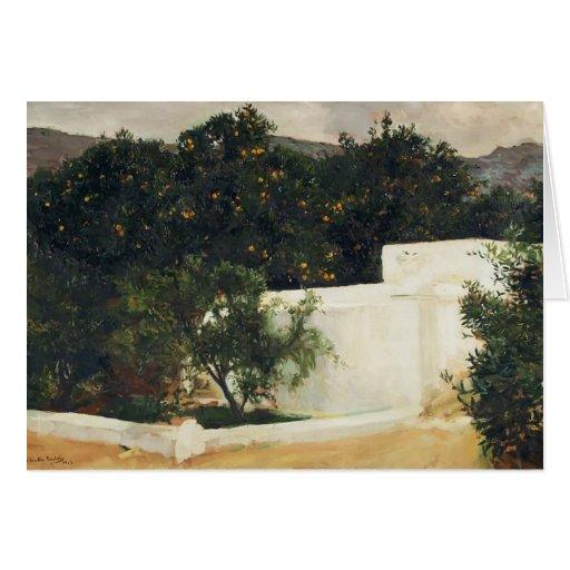 Joaquín Sorolla- Orange trees on road to Seville Greeting Cards