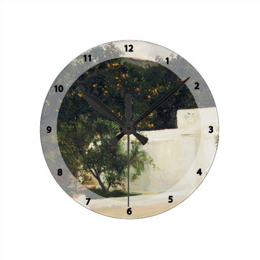 Joaquín Sorolla- Orange trees on road to Seville Wall Clocks