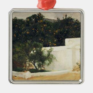 Joaquín Sorolla- Orange trees on road to Seville Silver-Colored Square Decoration