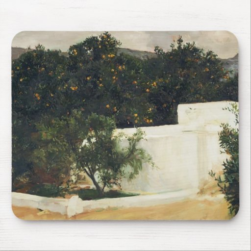 Joaquín Sorolla- Orange trees on road to Seville Mousepads