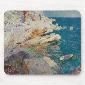 Joaquin Sorolla-Rocks of Javea and the White Boat Mouse Pad