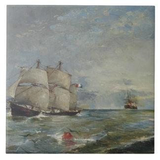 Joaquin Sorolla - Sailboats in the Sea Tile