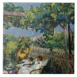 Joaquin Sorolla - Siesta in the Garden Ceramic Tile