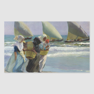 Joaquin Sorolla - The Three Sails Rectangular Sticker