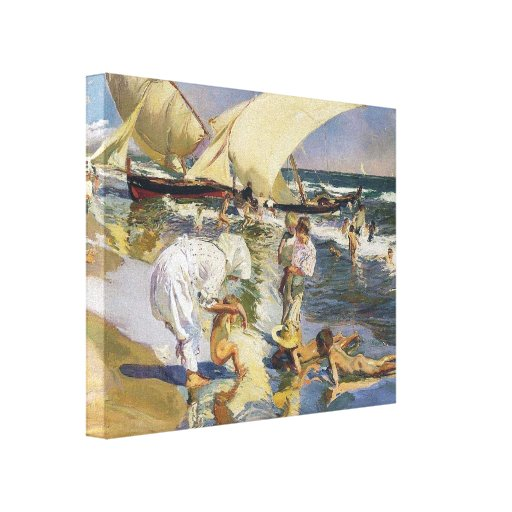 Joaquín Sorolla- Valencia beach in morning light Gallery Wrapped Canvas