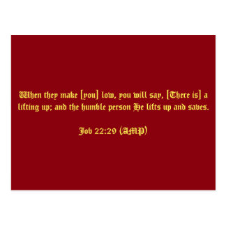 Job 22:29 (AMP) Postcard