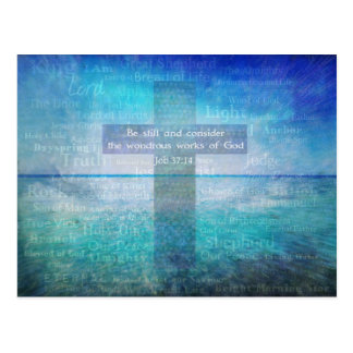 Job 37:14 Bible Verse Christian theme Postcard