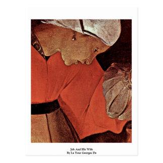 Job And His Wife  By La Tour Georges De Postcard