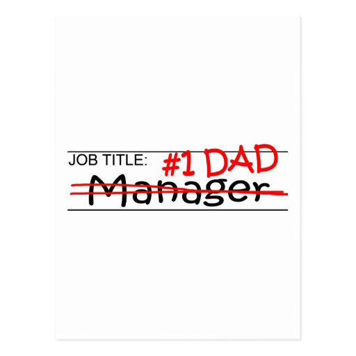 Job Dad Manager Postcards