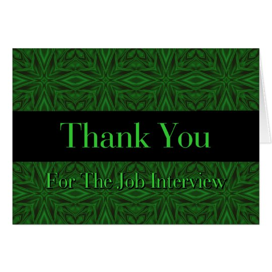 Job Interview Thank You - Green Satin Note Card