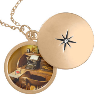 Job - Typist - A person with many interests Gold Plated Necklace