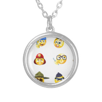 Jobs Occupations Work Emoji Emoticon Set Silver Plated Necklace