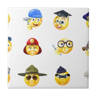 Jobs Occupations Work Emoji Emoticon Set Small Square Tile