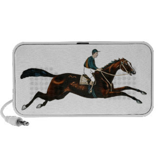 Jockey Riding A Race Horse Track Racing Laptop Speakers