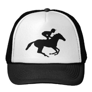 Jockey Riding Race Horse Silhouette Cap
