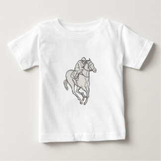 Jockey Riding Thoroughbred Horse Mono Line Baby T-Shirt