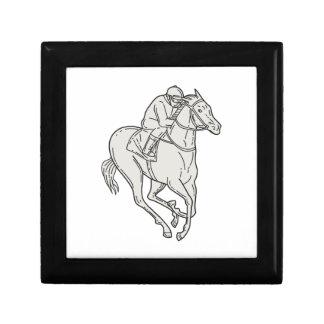 Jockey Riding Thoroughbred Horse Mono Line Gift Box