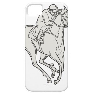 Jockey Riding Thoroughbred Horse Mono Line iPhone 5 Cover