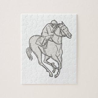 Jockey Riding Thoroughbred Horse Mono Line Jigsaw Puzzle
