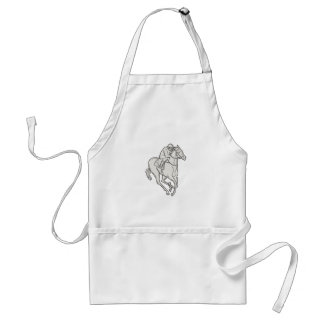 Jockey Riding Thoroughbred Horse Mono Line Standard Apron