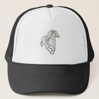 Jockey Riding Thoroughbred Horse Mono Line Trucker Hat