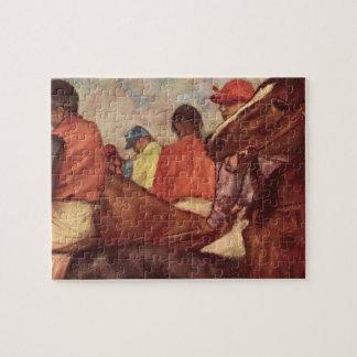 Jockeys by Edgar Degas, Vintage Horse Racing Art Jigsaw Puzzle