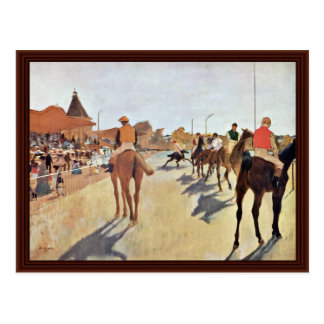Jockeys In Front Of The Grandstand By Edgar Degas Postcard