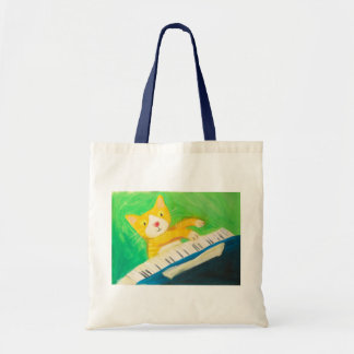 Joe the pianist cat tote bag