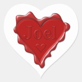 Joel. Red heart wax seal with name Joel