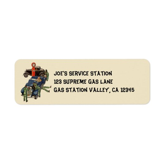 Joe's Full Service Gas Station, Vintage Business Return Address Label