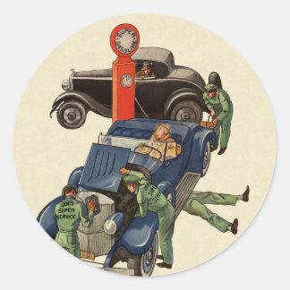 Joe's Full Service Gas Station, Vintage Business Round Sticker