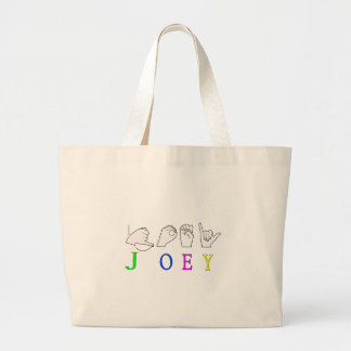 JOEY NAME SIGN ASL FINGERSPELLED CANVAS BAGS