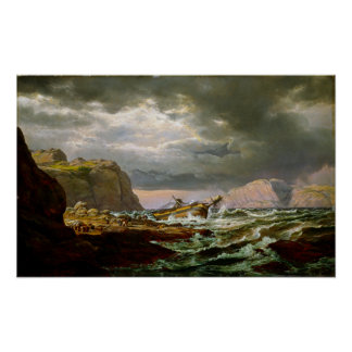 Johan Christian Dahl Shipwreck on Coast Norway Poster