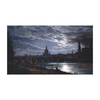 Johan Christian Dahl View of Dresden by Moonlight Canvas Print
