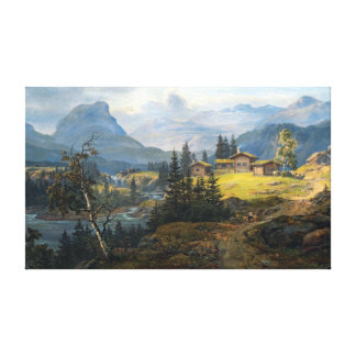 Johan Christian Dahl View of Øylo Farm, Valdres Canvas Print