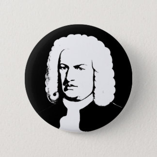 Johann Sebastian Bach abstractly in black and 6 Cm Round Badge