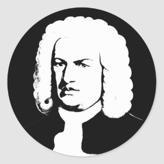 Johann Sebastian Bach abstractly in black and Classic Round Sticker